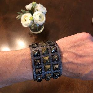 Jewelry - EUC Wide Dark Metallic Grey Leather Stud Bracelet